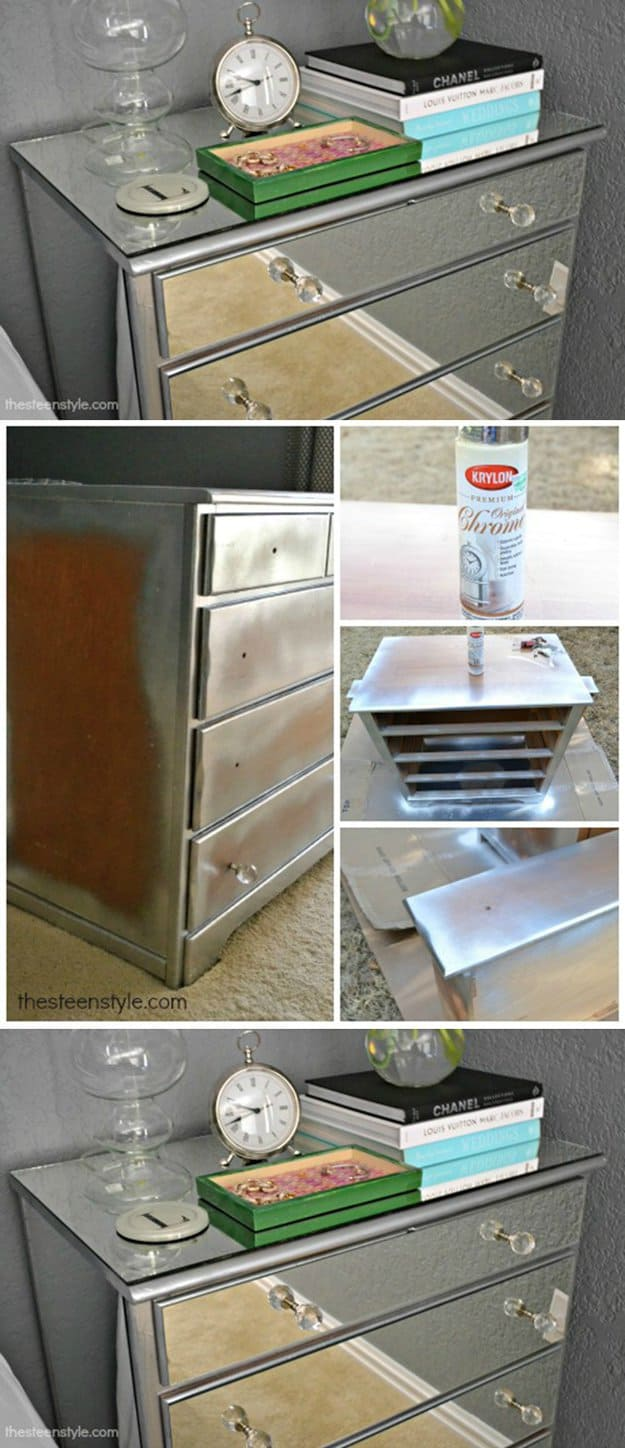 29. EMPHASIZE A PIECE OF FURNITURE WITH A MIRROR-CHROMED FINISH