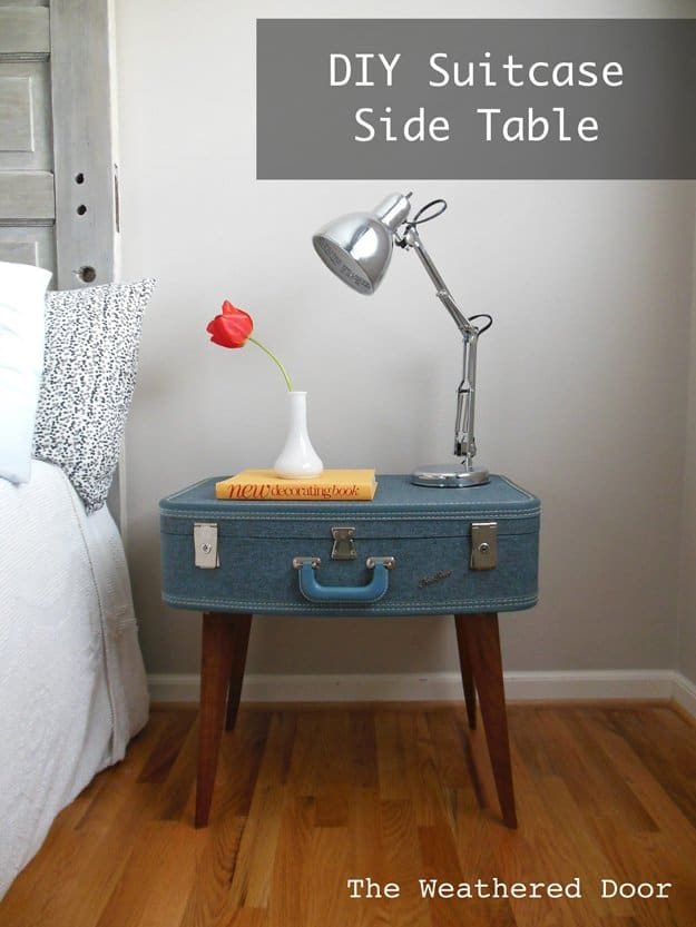 32. BUILD A DIY SUITCASE SIDE TABLE