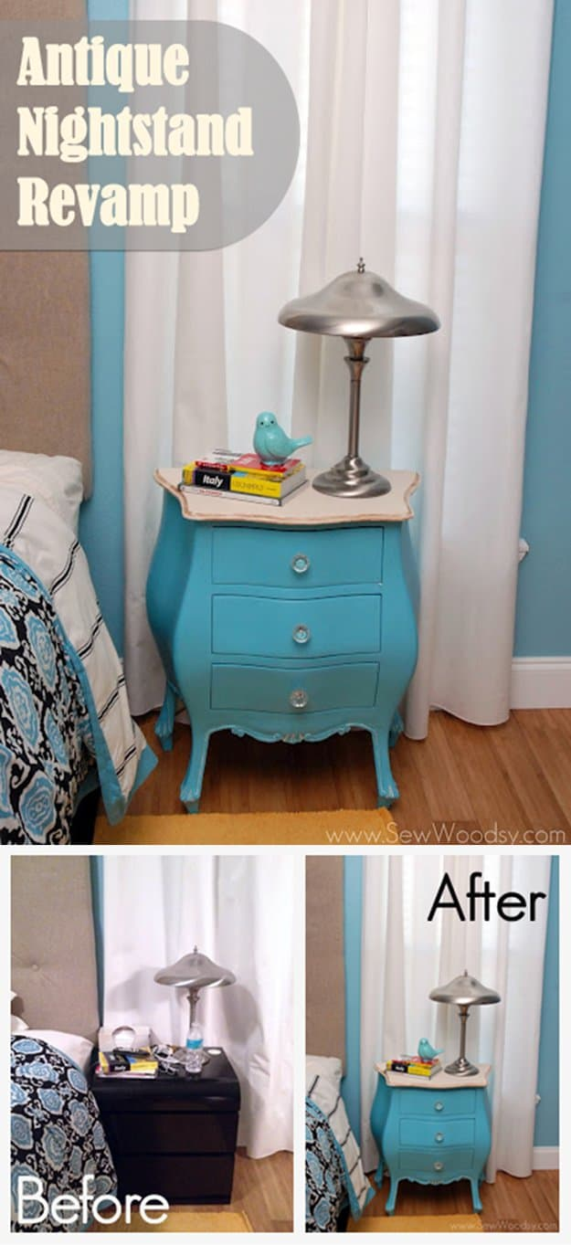 18. Revamp An Antique Nightstand Amazing Ideas