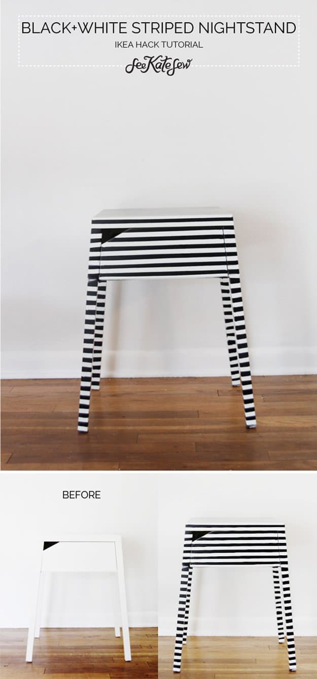 19 Simply Brilliant Cheap DIY Nightstand Idea 20. BLACK AND WHITE STRIPPED NIGHTSTANDs homesthetics decor (6)