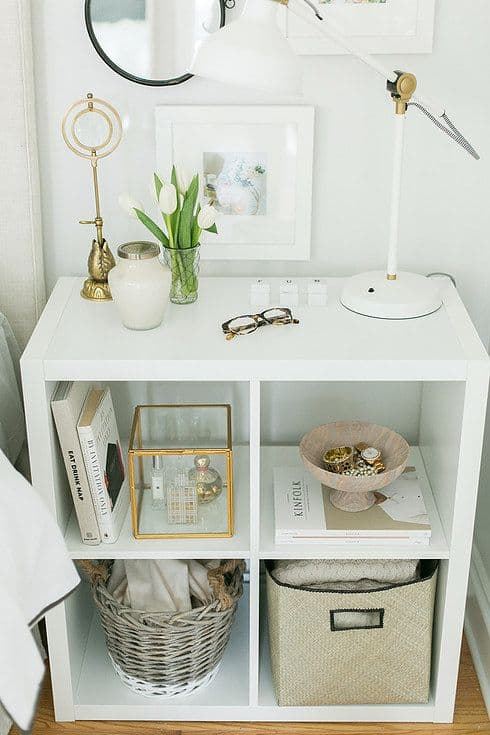 4. USE AN EXPEDIT IKEA SHELF AS AN EPIC NIGHTSTAND