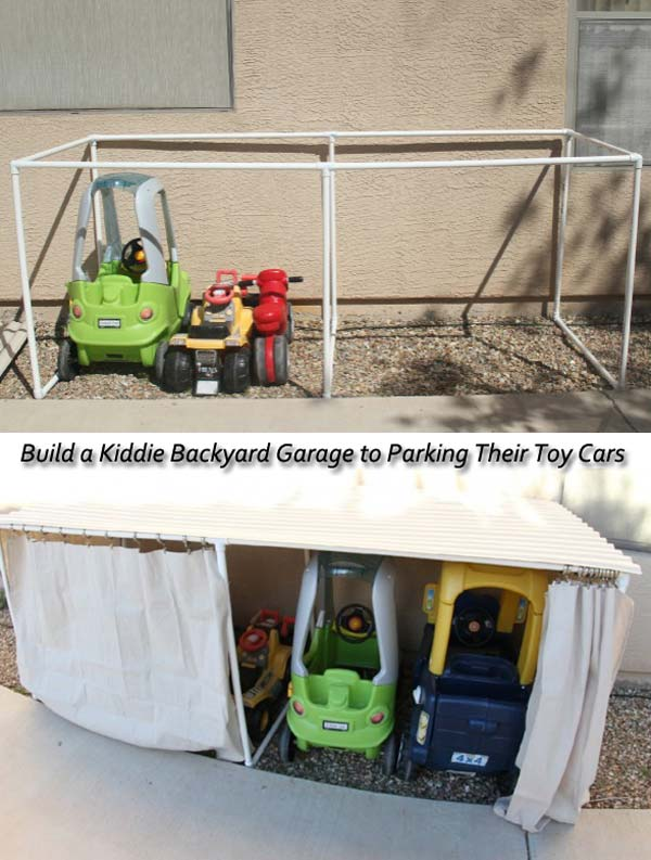 10. BUILD A COOL GARAGE IN THE BACKYARD FOR TOYS AND CARS