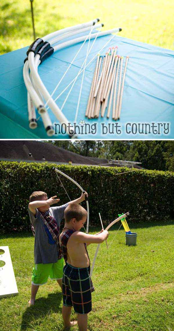 12. CREATE DIY BOWS AND ARROWS FOR BACKYARD ARCHERY