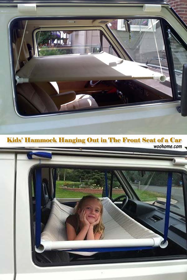 15. CREATE A HAMMOCK IN THE FRONT SEAR OF THE CAR