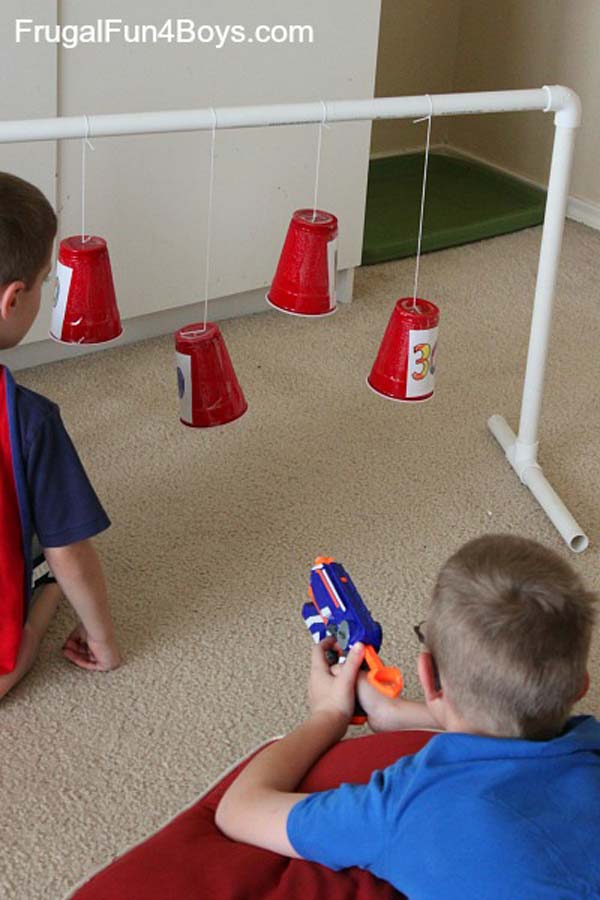 17. MAKE SWINGING TARGETS OUT OF PLASTIC CUPS