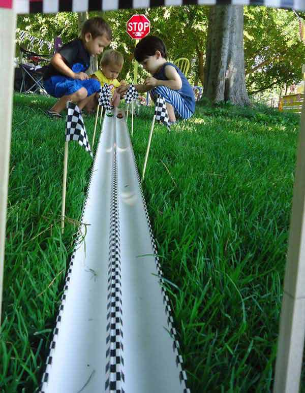 18. USE PVC PIPES TO CREATE EPIC DIY RACE CAR TRACKS