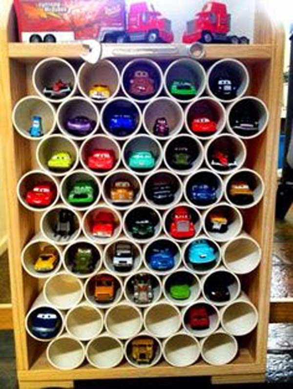 2. CREATE VERTICAL PARKING WITH PVC PIPES FOR TOY CARS