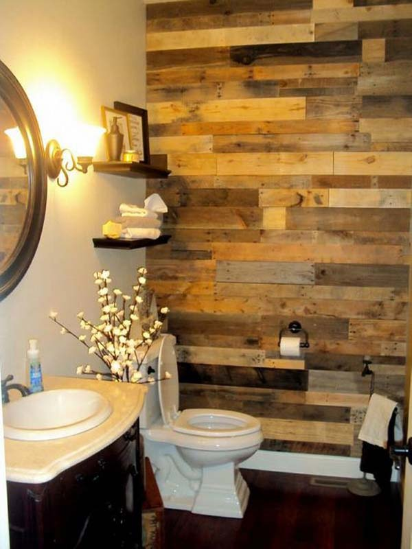 27 beautiful diy bathroom pallet projects for a rustic feel rh homesthetics net Reclaimed Wood Bathroom Vanity Reclaimed Wood Bathroom Shelf