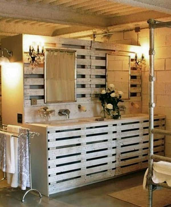 11. USE WOODEN PALLETS TO SHAPE COMPLETE BATHROOM FURNITURE