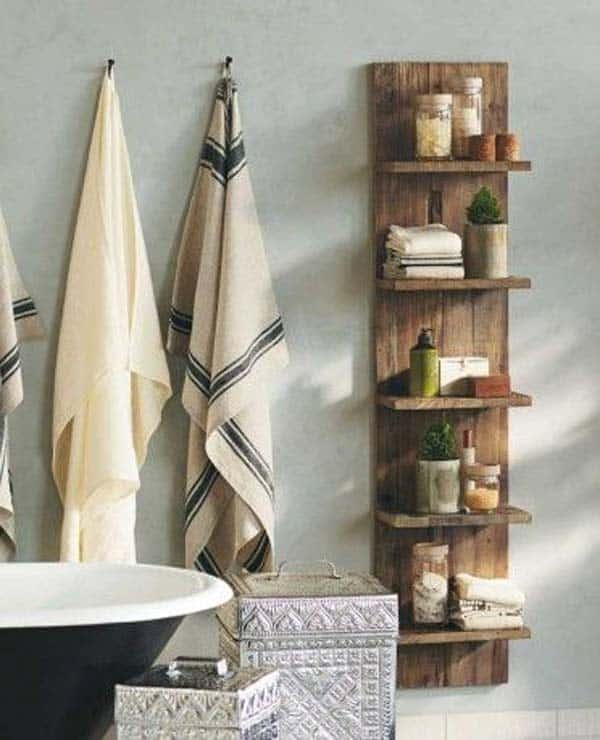 18  create minimal rustic wooden shelving 27 Beautiful DIY Bathroom Pallet Projects For a Rustic Feel