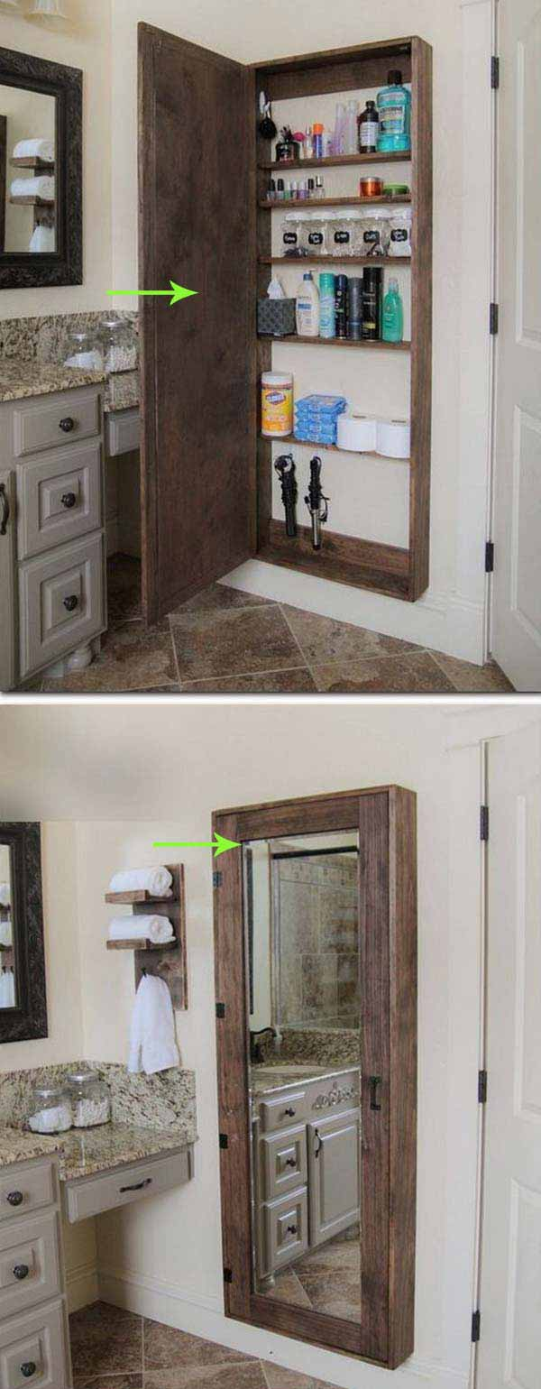 27. MIRROR UNIT WITH PRACTICAL TALL THIN STORAGE BACK