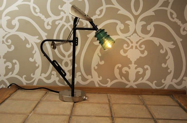17. an industrial looking lamp for a modern decor