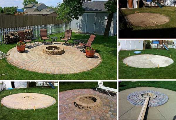 BEAUTIFUL HANDMADE CIRCULAR FIRE PIT SITTING AREA