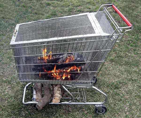 PURCHASE A SHOPPING CAR AND ADAPT IT TO SAFELY CONTAIN FIRE