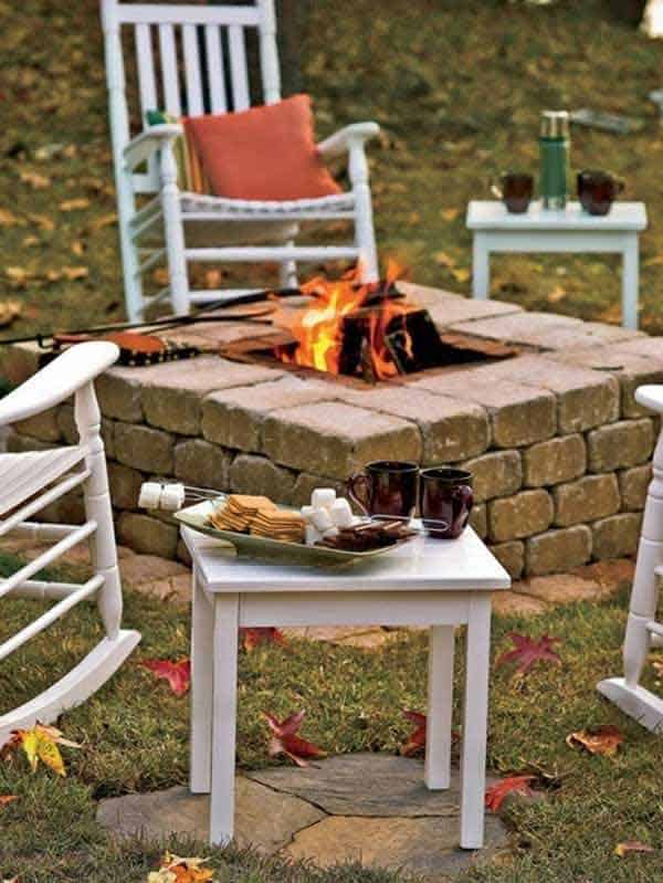 RECTANGULAR BRICK-MADE DIY FIRE PIT