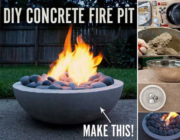 SCULPTURAL DIY CONCRETE FIRE PIT
