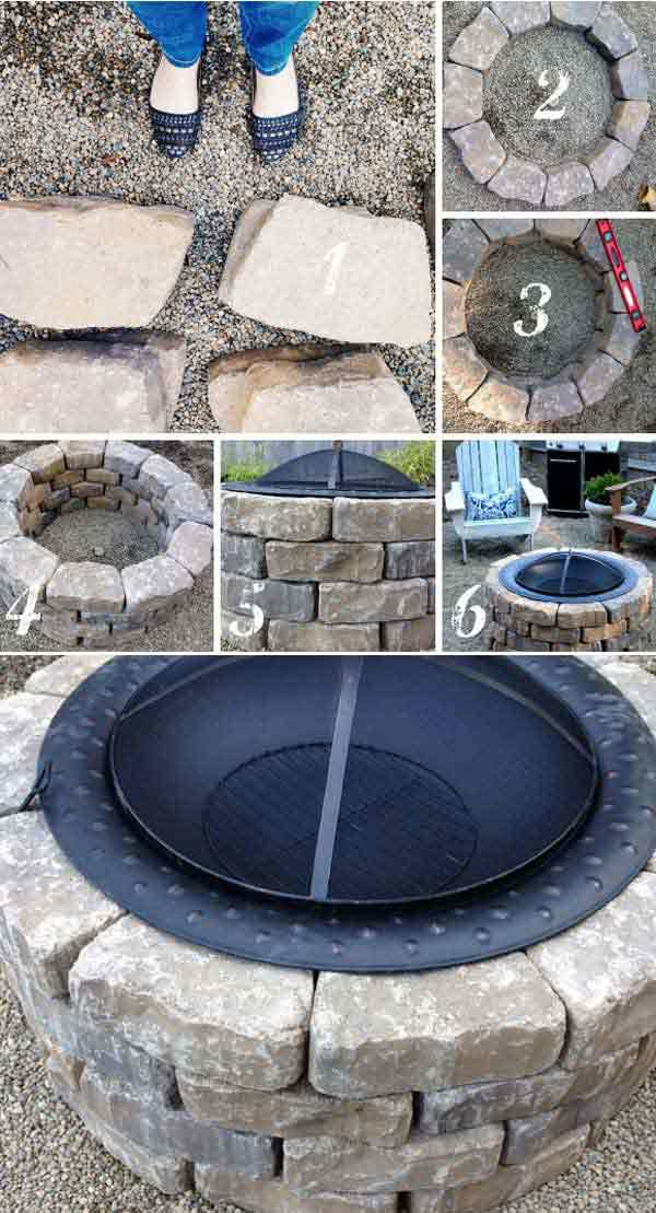 3. use a diy fire pit kit to shape items fast - 39 Easy To Do DIY Fire Pit Ideas