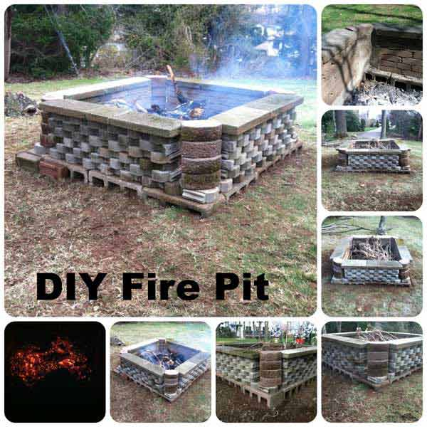 PLAYFUL BRICK ARRANGEMENT IN AN IMMENSE DIY FIRE PIT