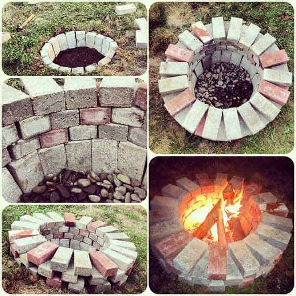 SIMPLE BRICKS SHAPING A NEAT FIRE PIT