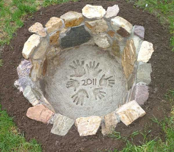 RUSTIC DIY FIRE PIT WITH A HANDPRINT SIGNATURE