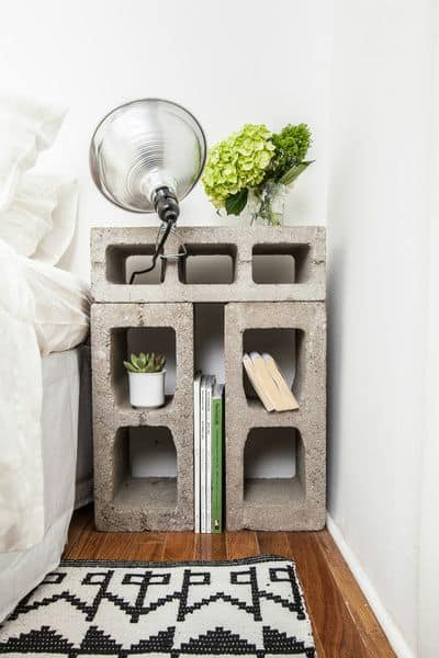 33. SIMPLE CINDER-BLOCK NIGHTSTAND