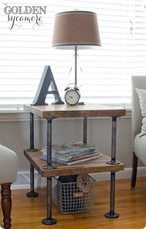 13. CREATE AN NIGHTSTAND WITH WOOD AND PIPES