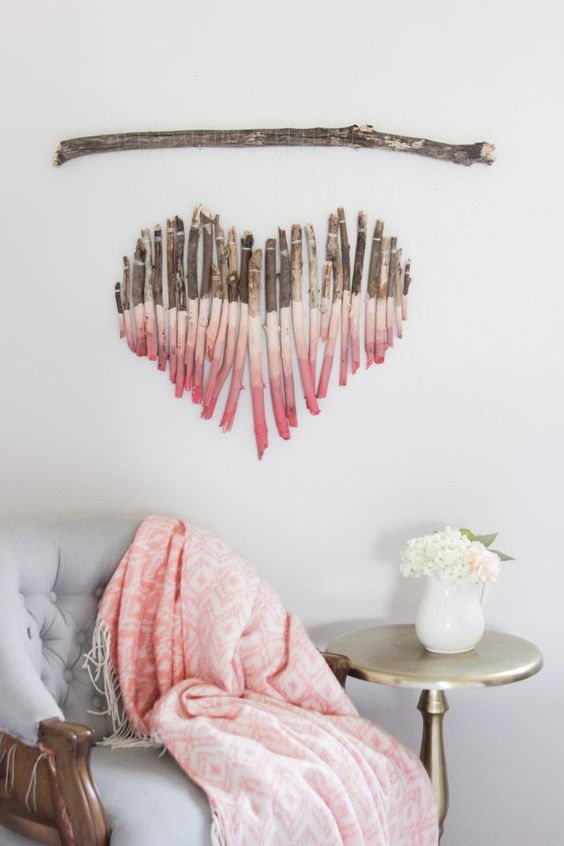 Superb BUILD A SPLENDID HEART SHAPED WALL ART OUT OF BRANCHES