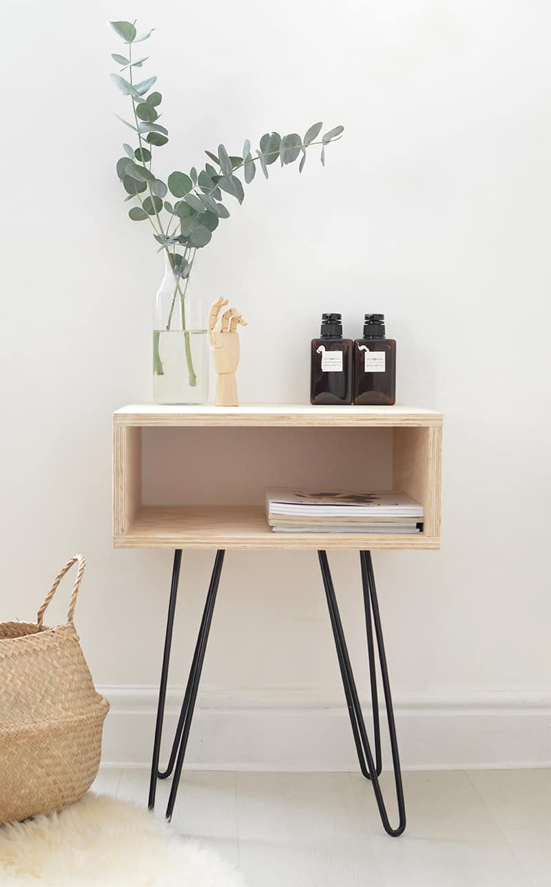 DIY MID CENTURY TABLE 10. PLYWOOD AND HAIRPIN LEGS NIGHTSTAND