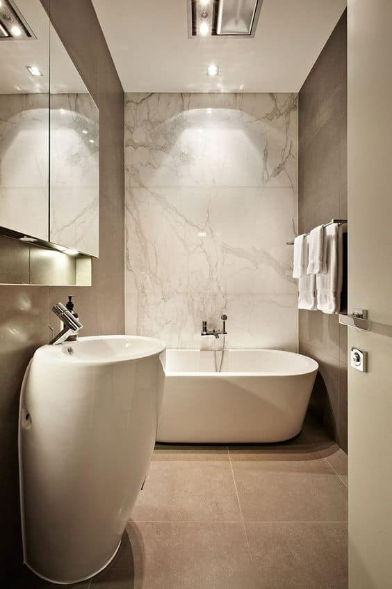 earthy taupe palette in modern bathroom design with marble
