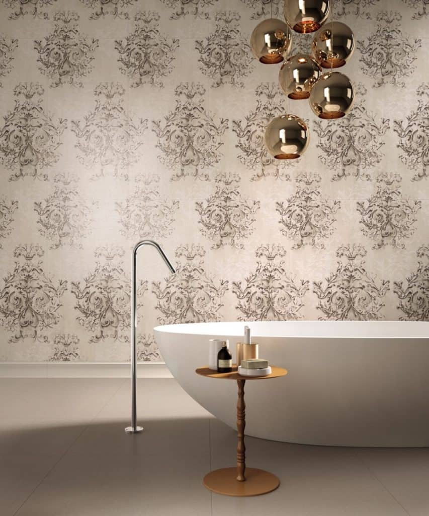 taupe colors in eclectic contemporary bathroom design