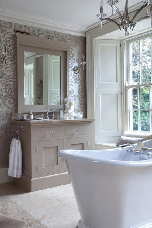 bathroom contrast colors in the taupe palette