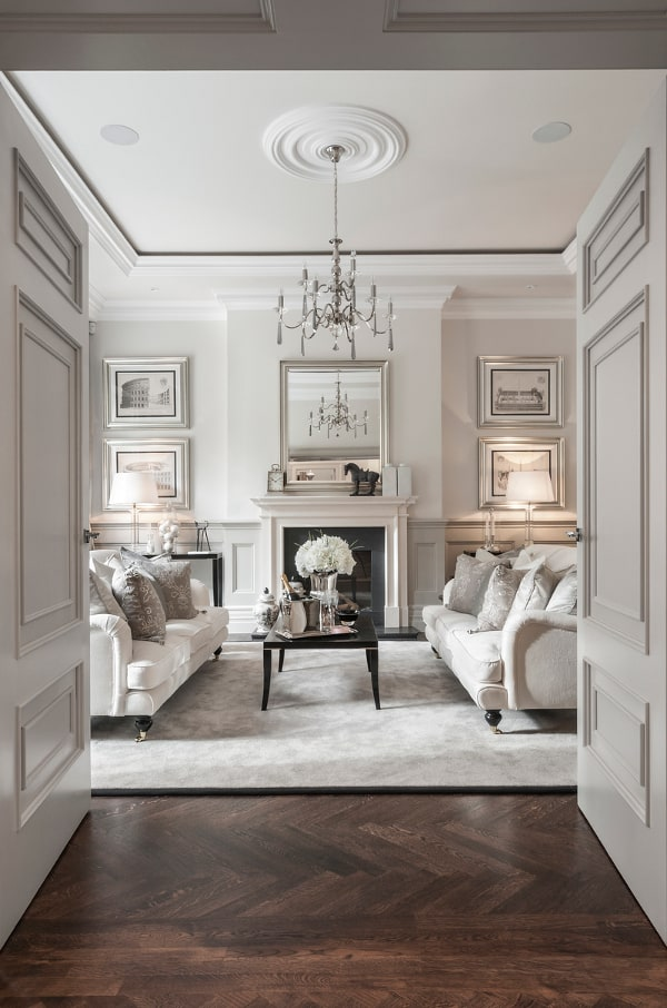 living room in white warm tones of taupe