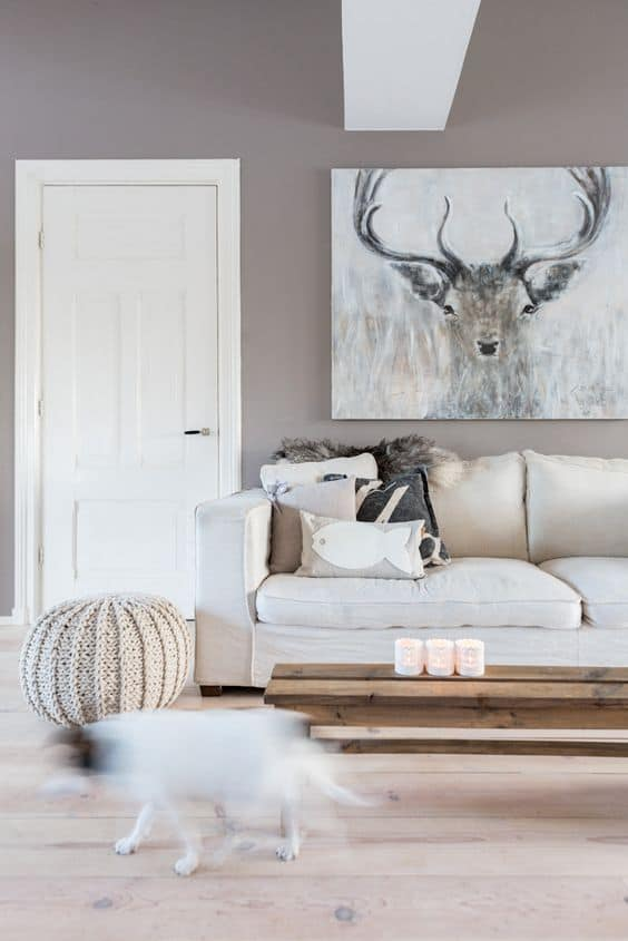 warm contrasting tones of taupe in sensible living room