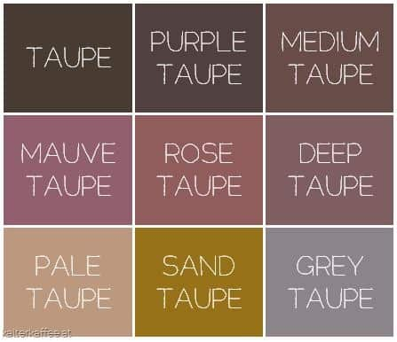 purple taupe, medium taupe, mauve taupe, rose taupe, deep taupe, pale taupe sand taupe and grey taupe info-graphic map
