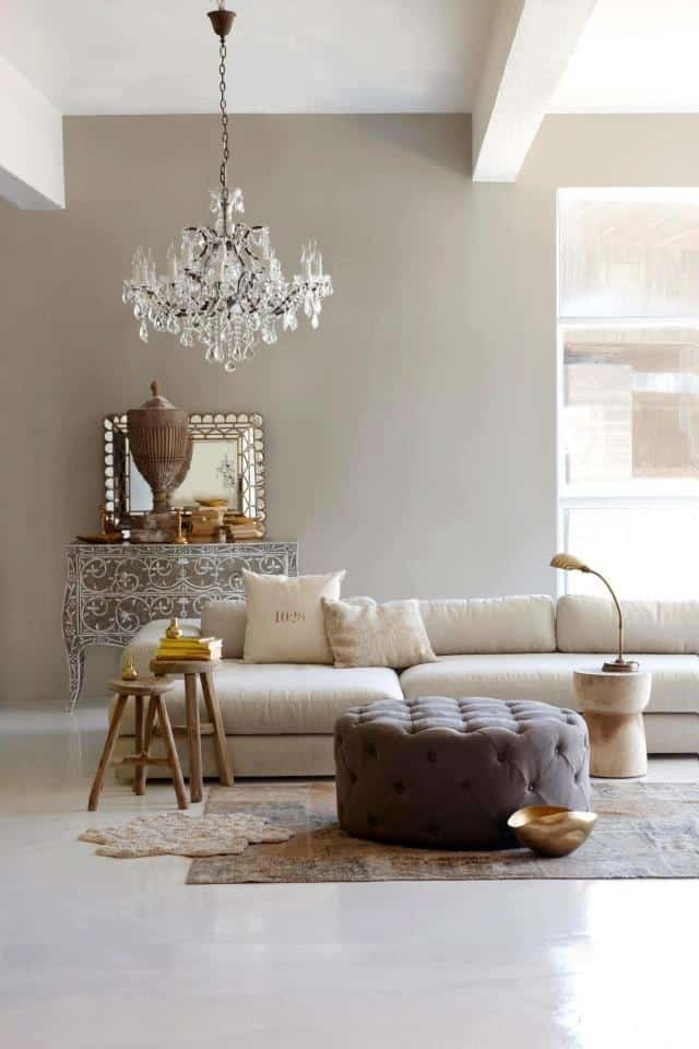 elegant simple living room with warm taupe tones