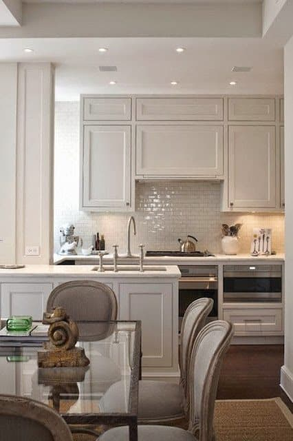 airy kitchen design using taupe