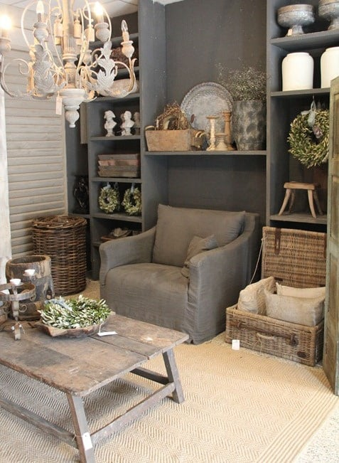 small living in taupe colors using vintage rustic