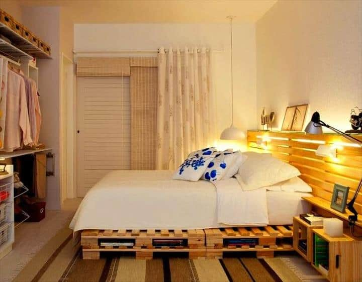 2. WOODEN HEADBOARD AND BED FRAME EXUDING WARMTH AND COZINESS