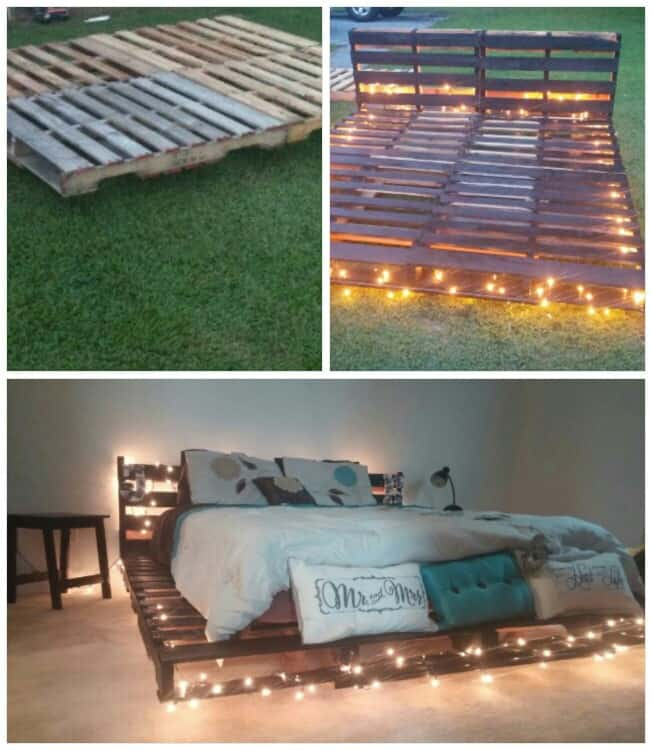 4. A SIMPLE PALLET BED FRAME ILLUMINATED WITH CHRISTMAS LIGHTS