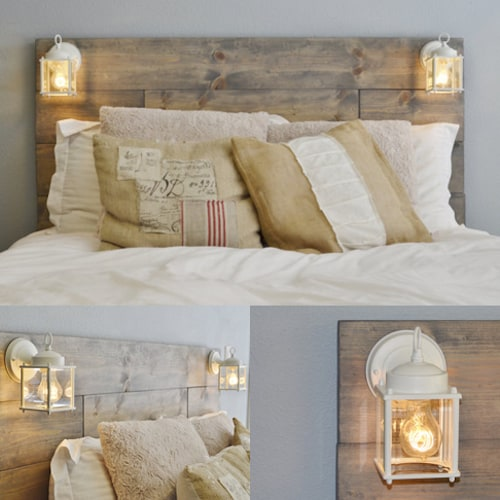 34. COZY PALLET BED FRAME AND HEADBOARD TOUCHED BY SHIMMERING LIGHT