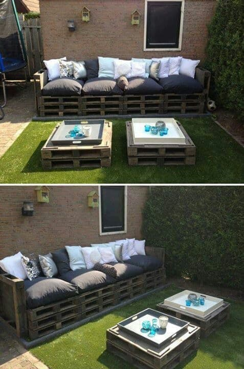 STACKED LAYERS OF PALLETS SERVING AS AN OUTDOORS FURNITURE SET