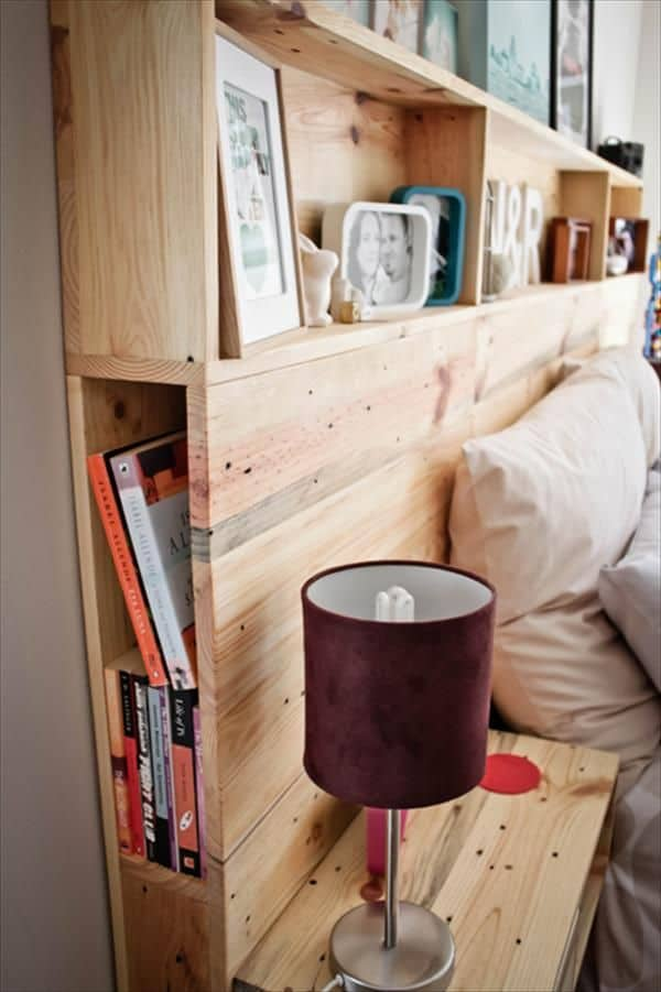PALLET BED HEADBOARD OFFERING SHELVING SPACE