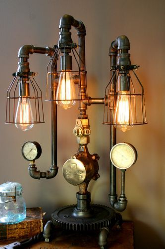 Adopt the unconventional steampunk decor in your home - Lamparas de techo tipo industrial ...
