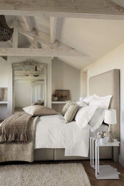 light taupe colors shaping an attic bedroom