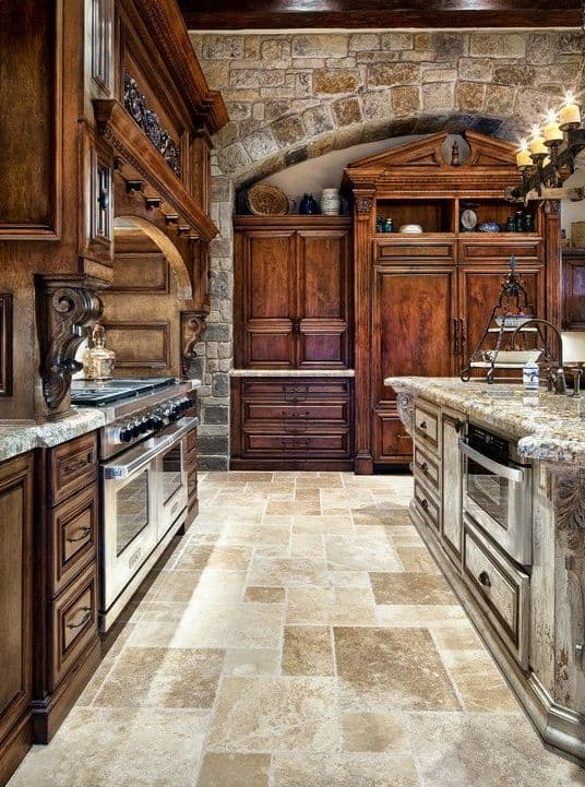 5. MASSIVE WOOD AND NATURAL STONE FOR AN OPULENT DECOR. Top 20 Most  Beautiful Wooden Kitchen Designs ...