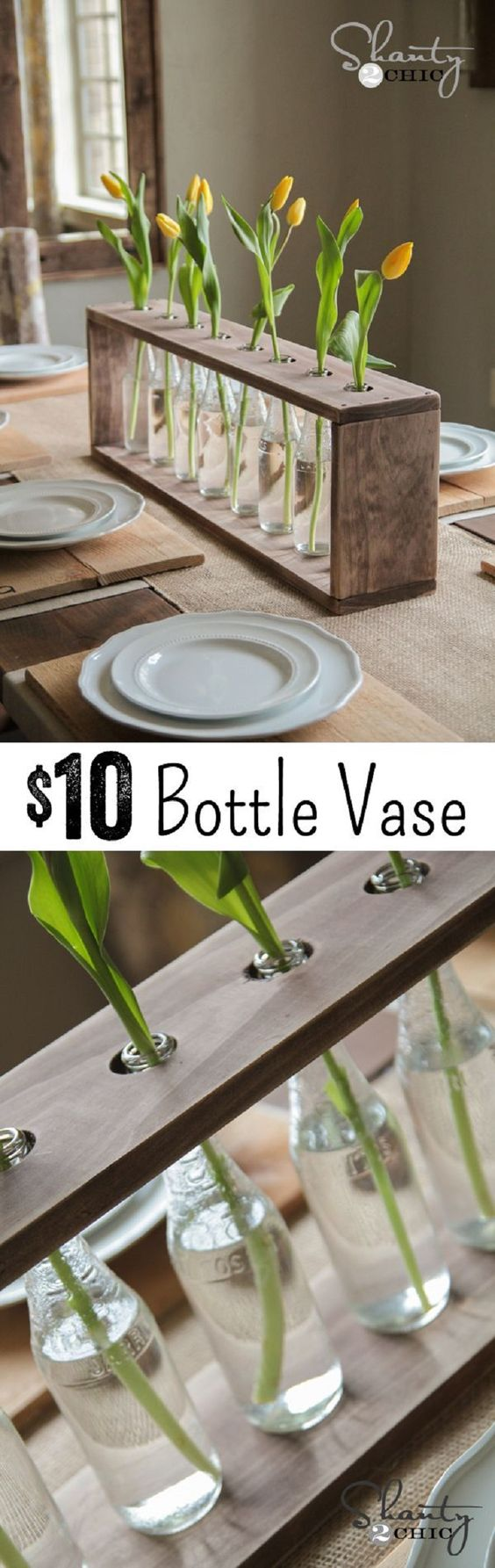 brilliant salvaged wood glass bottle centerpiece