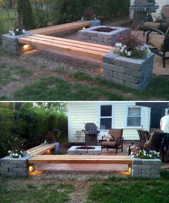create an sitting area with a firepit
