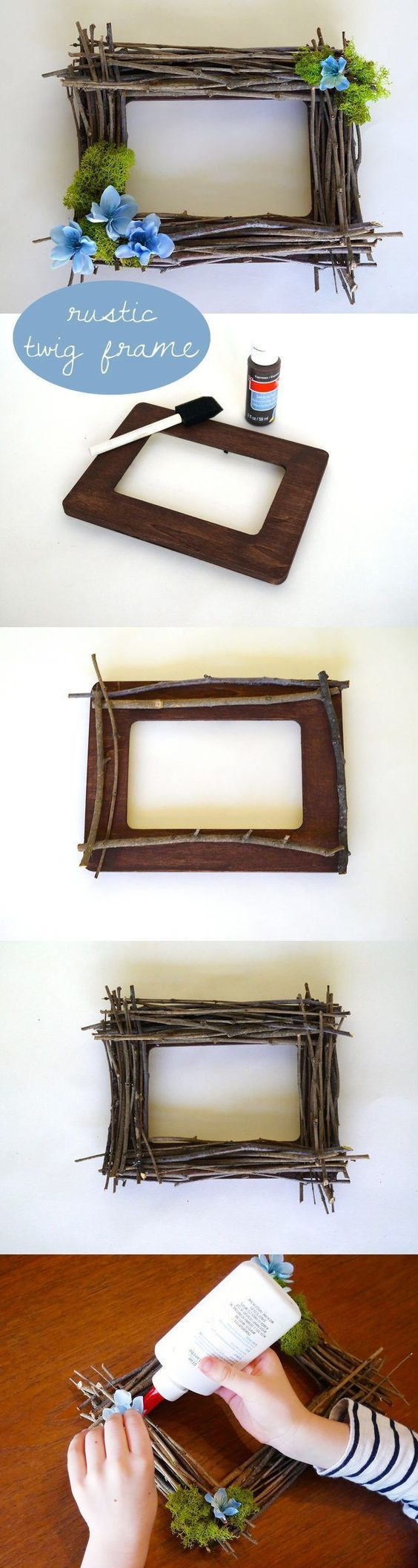 diy rustic twig frame craft