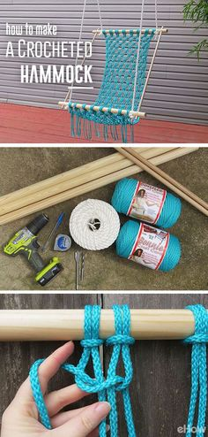 learn how to make a crocheted macrame hammock