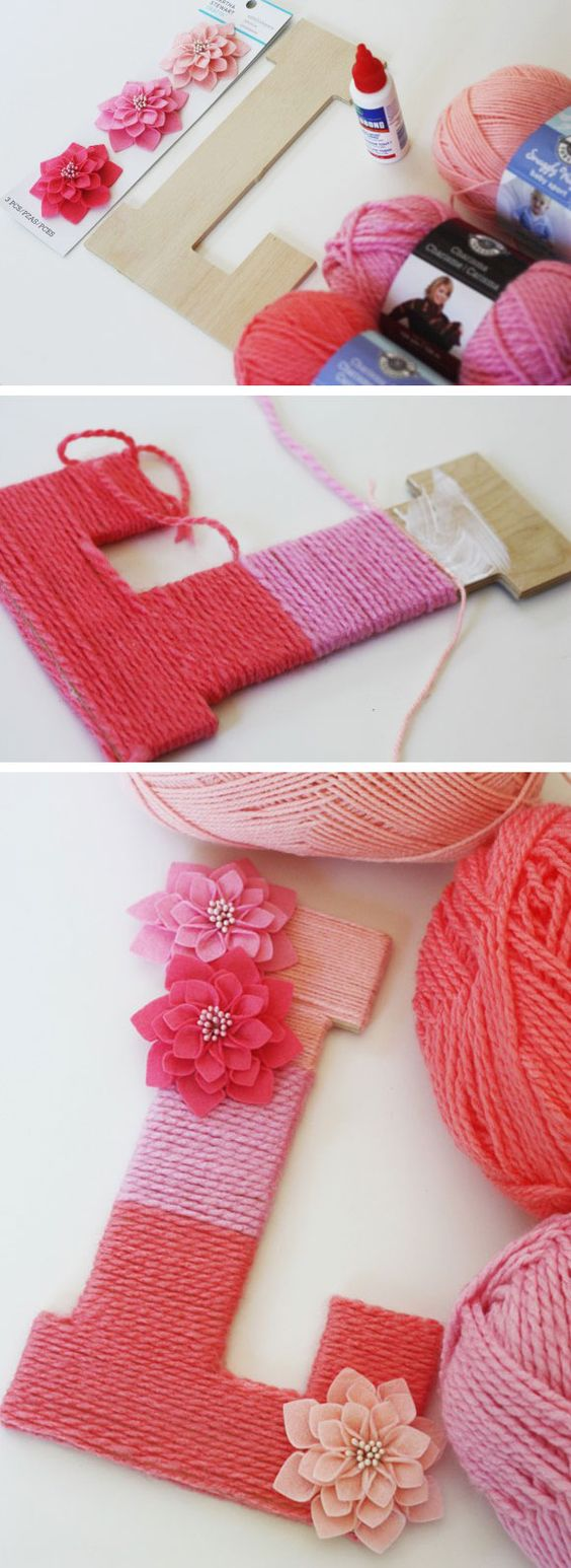 learn how to make a yarn ombre minogrammed letter